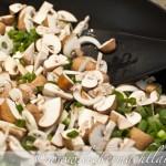 Champignons und Lauchzwiebeln brazen