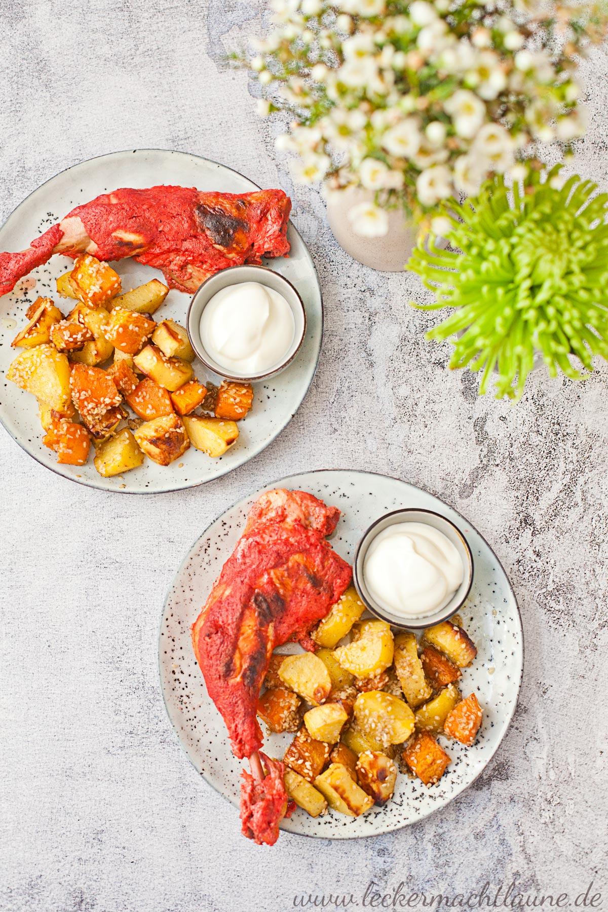Tandoori-Hähnchen mit Sesam-Kartoffeln