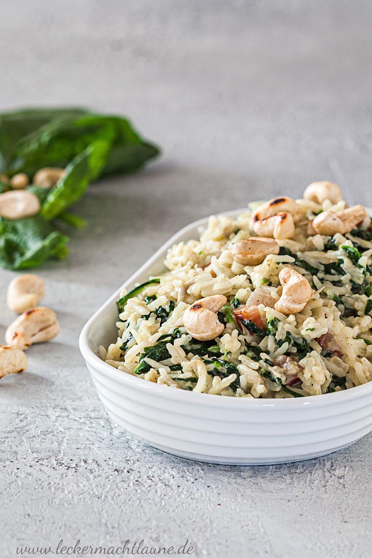 Reis mit Spinat-Mascarpone-Sauce {feierabendessen} | lecker macht laune