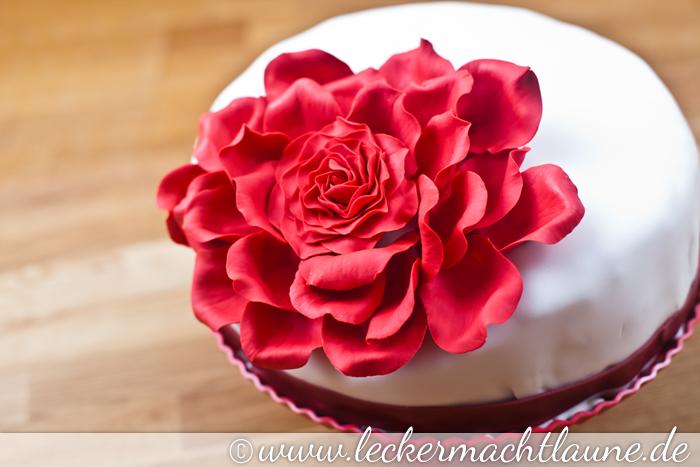 Torte mit großer Rose Schritt 44